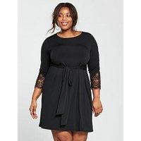 V by Very Curve Tie Front Lace Trim Sleeve Dress - Black, Black, Size 22, Women