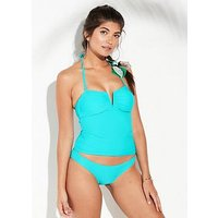 V by Very Mix & Match V Front Bandeau Tankini Top - Turquoise, Turquoise, Size 14, Women