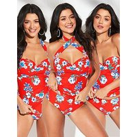 V by Very Shapewear Multiway Underwired Twist Tankini Top - Floral Print, Floral Print, Size 38D, Women