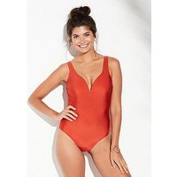 V by Very Shapewear Sweetheart Neck Swimsuit - Red, Red, Size 14, Women