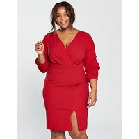 V by Very Curve Ruched Sleeve Wrap Woven Bodycon Dress - Red, Red, Size 26, Women