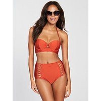 V by Very Lattice Detail Shimmer Underwired Bikini Top - Red, Red, Size 36Dd, Women