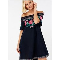 Accessorize Accessorize Olivia Embroidered Off Shoulder Dress, Navy, Size Xs, Women