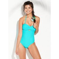 V by Very Essentials Twist Bandeau Swimsuit - Turquoise, Turquoise, Size 8, Women