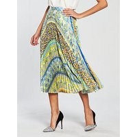 Skeena S Pleated Midi Skirt - Spanish Tiles