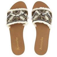 Accessorize Accessorize Florence Fringed Slider Sandal, Multi, Size 7, Women