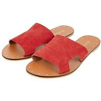 Accessorize Ellen Suede Slider Sandal, Red, Size 6, Women