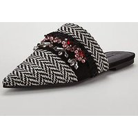 V by Very Essaouria Woven Jeweled Point Flat Mule - Black/White, Black/White, Size 3, Women