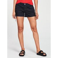 V by Very Lace Up Denim Short - Dark Wash, Dark Wash, Size 12, Women