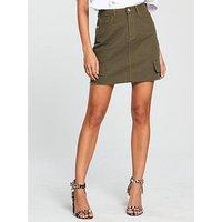 V by Very Utility Pocket Mini Skirt - Khaki , Khaki, Size 16, Women