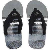 Animal Jekyl Logo Boys Flip Flops, Black, Size 10 Younger