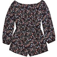 V by Very Girls Bardot Floral Printed Playsuit, Multi, Size 6 Years, Women