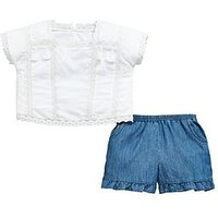 V by Very Girls White Tassel Blouse & Frill Short Outfit, Cream, Size Age: 16 Years, Women