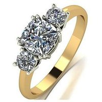 Moissanite The Royal Trilogy 9ct Gold Cushion Centre 1.4ct Total Equivalent Moissanite Ring, White Gold, Size Q, Women