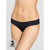 DORINA 3 Pack Thong - Black, Black, Size 16, Women