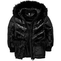 V by Very Girls Faux Fur High Shine Padded Coat, Black, Size Age: 7 Years, Women