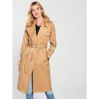 V by Very Trench Coat - Camel, Camel, Size 12, Women