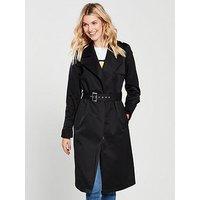 V by Very Trench Coat - Black , Black, Size 24, Women