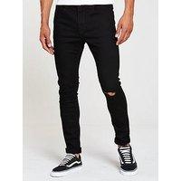 V by Very Skinny Slash Knee Jean, Black, Size 32, Inside Leg Short, Men
