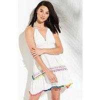 V by Very Halter Pom Pom Beach Sundress - White , White, Size 18, Women