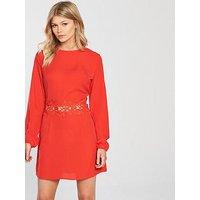 AX Paris PETITE Crochet Waist Dress, Red, Size 10, Women