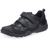Start-rite Older Boys Velcro Strap School Shoe - Black, Black, Size 6 Older