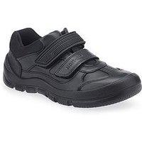 Start-rite Boys Warrior Velcro Strap School Shoe - Black, Black, Size 11.5 Younger