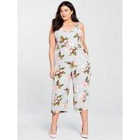AX Paris Curve Floral Print Jumpsuit, Pale Blue, Size 24, Women