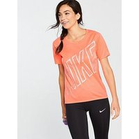 Nike Running Dry Miler Top - Coral , Coral, Size S, Women