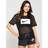 Nike Sportswear Box Swoosh Mesh Top - Black , Black, Size L, Women