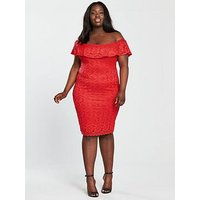 AX PARIS CURVE Curve Frill Off Shoulder Lace Midi Dress - Red , Red, Size 26, Women