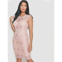 Jessica Wright Breanna Lace Sleeveless Midi Dress - Blush Pink , Blush, Size 16, Women