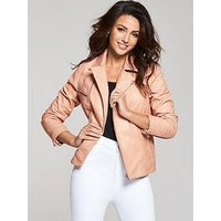 Michelle Keegan Blush Premium Biker Jacket, Blush, Size 8, Women