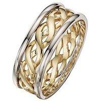 Love GOLD 9 Carat 2 Colour Gold Celtic Wedding Band 6mm, Size Y, Women