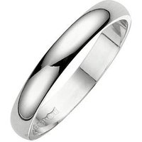 Love GOLD 18 Carat White Gold D Shaped Wedding Band 3mm, Size I, Women