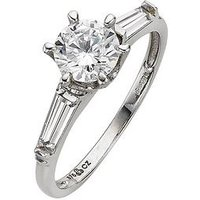 Love GEM 9 Carat White Gold CZ Solitaire Ring with Graduated Stone Set Shoulders, Size V, Women