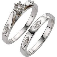 Love DIAMOND 9 Carat White Gold 5 Point Diamond Bridal Set, Size N, Women