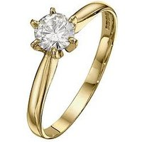 Moissanite 18 Carat 50 Point Solitaire Ring, Size P, Women