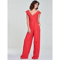 Myleene Klass Tie Waist Jumpsuit - Coral, Coral, Size 10, Women