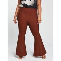 V by Very Curve Kickflare Trouser - Rust, Rust, Size 26, Women