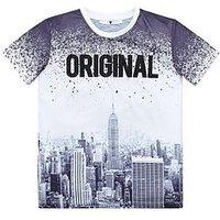 Boys, V by Very City Print T-shirt, Grey, Size 10 Years