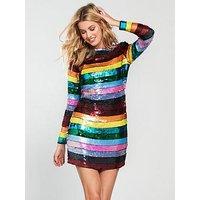 V by Very Unique Stripe Sequin Mini Dress - Multi, Multi, Size 8, Women