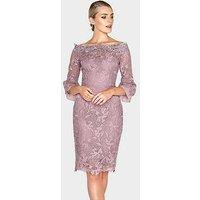 Paper Dolls Crochet Lace Chiffon Flute Sleeve Bardot Dress - Mink