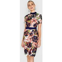 Paper Dolls Bloom Printed Crochet Lace High Neck Dress