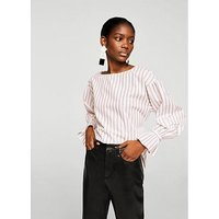 Mango Lichi Striped Fluted Sleeve Blouse - Pink , Pink, Size S, Women
