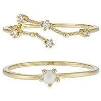 Accessorize June Birthstone Stacking Ring Set, Gold, Size L, Women