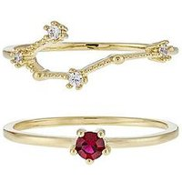 Accessorize July Birthstone Stacking Ring Set, Gold, Size L, Women