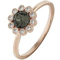 Accessorize Rose Gold Flower Ring - Grey, Grey, Size L, Women
