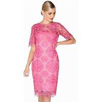 Paper Dolls Crochet Detail Lace Dress - Hot Pink , Hot Pink, Size 6, Women