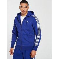 adidas Essential 3s Full Zip Hoodie, Ink, Size M, Men